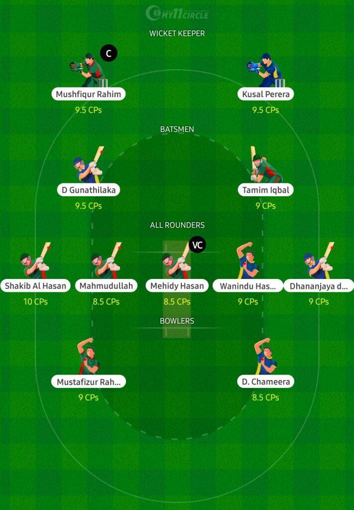 Fantasy Cricket Team for Bangladesh vs Sri Lanka Match
